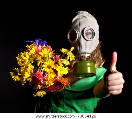 Woman in gas mask. - stock photo