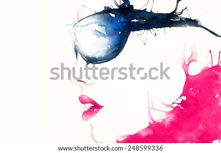 woman in glasses. art portrait .abstract watercolor .fashion background - stock photo
