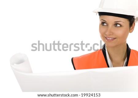 Woman in hardhat, holding blueprints - stock photo