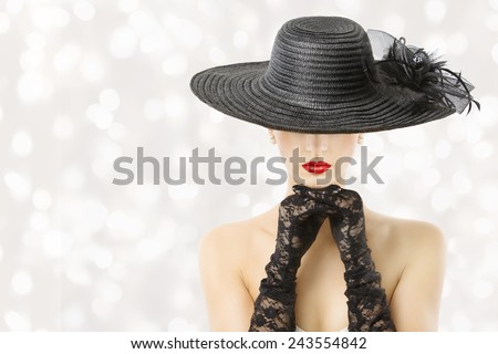 Woman In Hat Beauty Portrait, Beautiful Girl Hidden Face, Red Lips Fashion Gloves, White Background - stock photo
