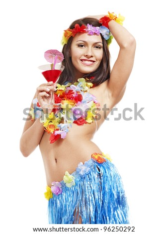 Woman in hawaii costume drink  juice. Isolated. - stock photo