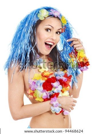 Woman in hawaii costume. Isolated. - stock photo