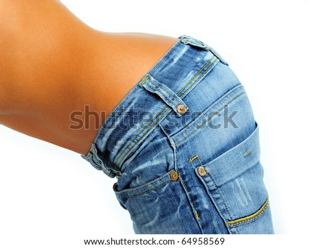 woman in jeans from the side - stock photo
