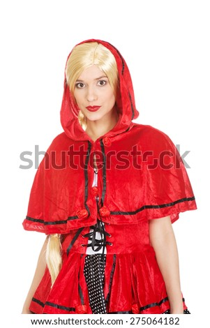 Woman in Little Red Riding Hood costume. - stock photo