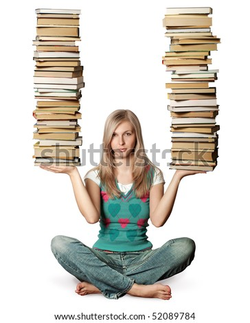 woman in lotus pose with many books in her hands isolated on white - stock photo