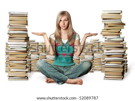 woman in lotus pose with many books near isolated on white
