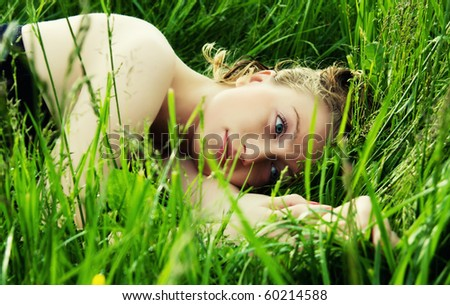 woman in meadow - stock photo
