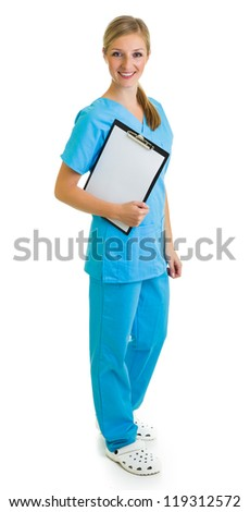 Woman in medical doctor uniform holding clipboard - stock photo