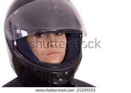 woman in motor-cycle helmet on white background - stock photo