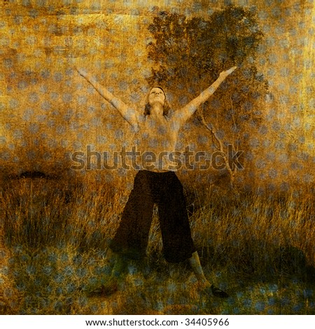 Woman in nature with arms and heart lifted to the sky. Photo based illustration. - stock photo
