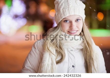 woman in night winter city - stock photo