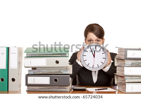 Woman in office is stressed because of time pressure. Isolated on white background.