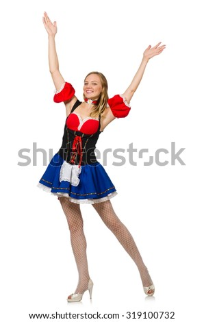 Woman in Oktoberfest concept on white - stock photo