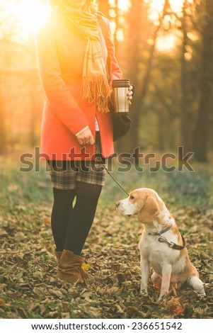 Woman in park holding coffee to-go and walking with her beagle dog - stock photo
