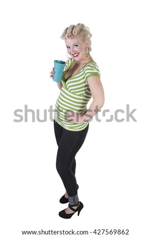 Woman in pin-up dress drinking - Isolated White Background - stock photo