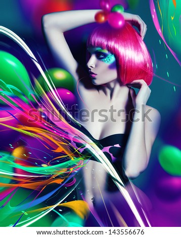 woman in pink bra with colourful lines - stock photo
