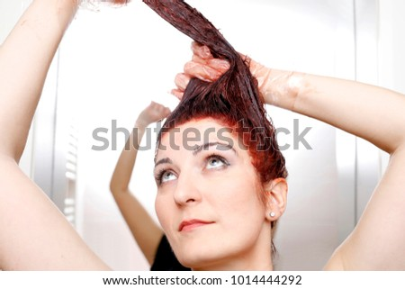 Woman Process Hair Coloring Home Applying Stock Photo 1014675331 ...