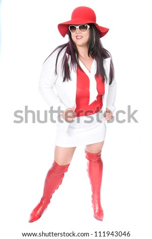 woman in red and white