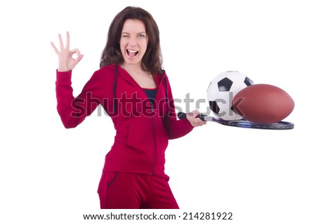 Woman in red costume in sports sporting concept - stock photo