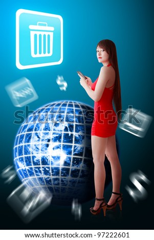 Woman in red dress and Bin icon