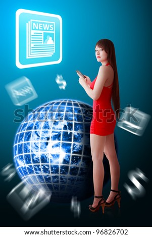 Woman in red dress and News icon : Elements of this image furnished by NASA