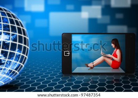Woman in red dress on mobile phone : Elements of this image furnished by NASA - stock photo