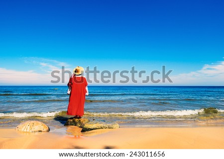 Woman in red dress on the seashore - stock photo