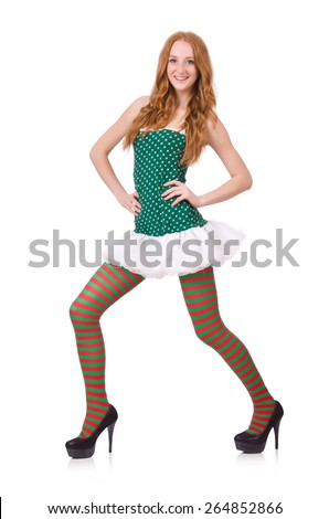 Woman in saint patrick clothes - stock photo
