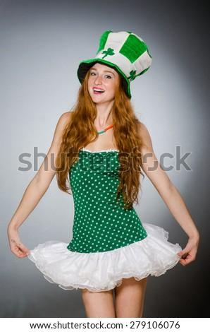 Woman in saint patrick concept - stock photo