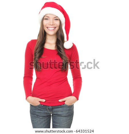 Woman in santa hat posing isolated on white background. Mixed race asian caucasian girl happy looking at camera. - stock photo