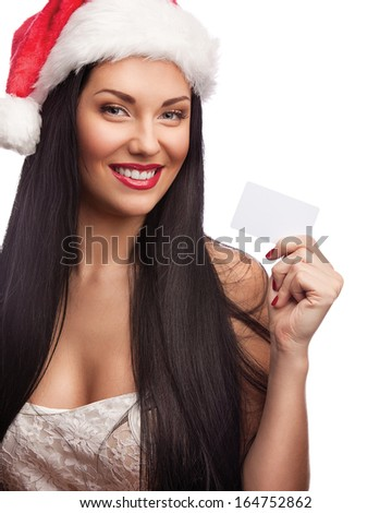 Woman in santa with credit card