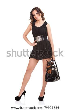 woman in sexy dress with her dog in bag , isolated on white background - stock photo