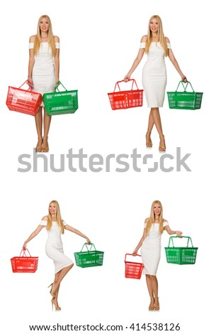 Woman in shopping concept isolated on white - stock photo