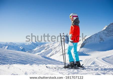 Woman in Ski resort / clear weather - stock photo
