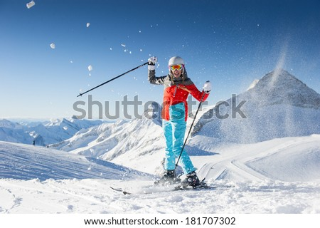 Woman in Ski resort / clear weather - stock photo