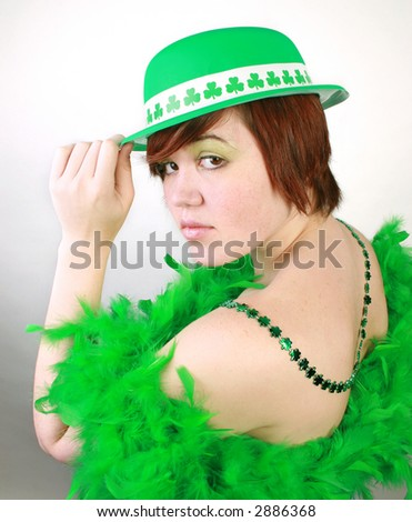 Woman in St Patricks Day outfit. - stock photo