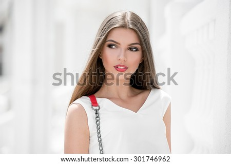 Woman in summer city - stock photo