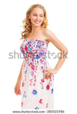 Woman in sundress - stock photo