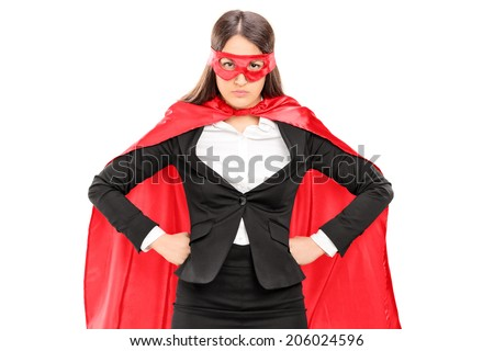 Woman in superhero costume standing proudly isolated on white background - stock photo