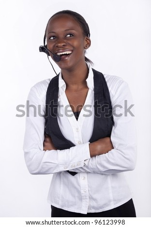 Woman in telephone headset on white background. - stock photo