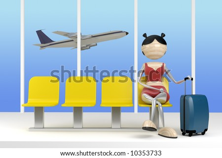 Woman in the airport with a luggage in a waiting room - stock photo