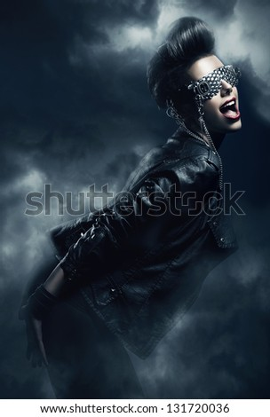woman in the fog - stock photo