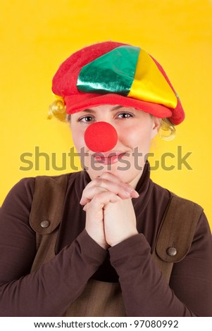 woman in the role of the clown - stock photo