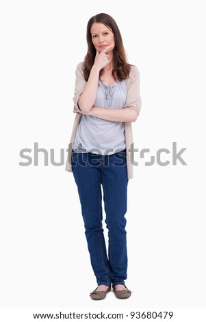 Woman in thinkers pose against a white background - stock photo