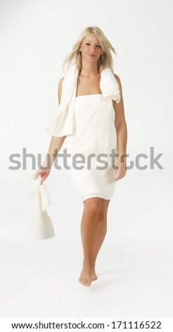 woman in towel - stock photo