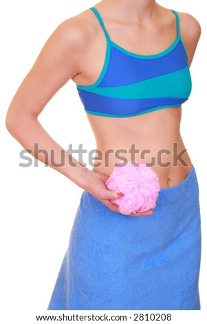 woman in towel with sponge isolated on white - body care - stock photo