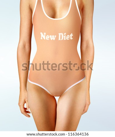 woman in underwear with perfect shape, diet oneself - stock photo