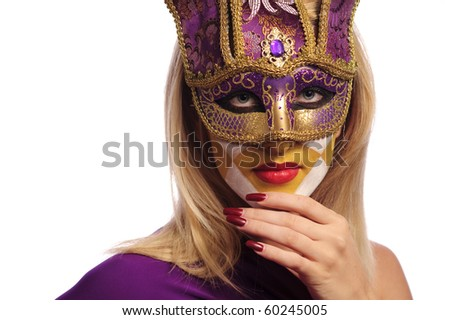 woman in violet mask isolated on white. may be use for Venice concept - stock photo