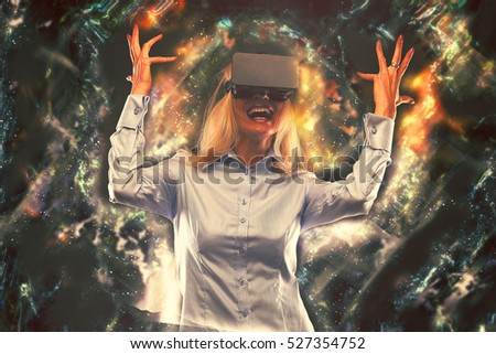 Woman in virtual reality and VR glasses