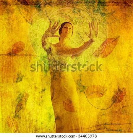Woman in visualization metaphor. Photo based mixed medium illustration. - stock photo